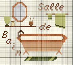 Maison - house - salle de bains - point de croix - cross stitch - Blog : http://broderiemimie44.canalblog.com/