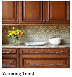 ~In this kitchen, hand-rubbed glazing adds dramatic highlights to the cherry cabinet doors and drawers. On the backsplash, a combination of tiles, including a raised relief border, invoke luxurious details to draw the eye. Kitchen Redo, New Kitchen, Kitchen Dining, Kitchen Ideas, Kitchen Tips, Backsplash Ideas For Kitchen, Warm Kitchen, Natural Kitchen, Kitchen Styling