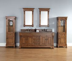 "James Martin 147-114-5771-TBR Brookfield 72"" Country Oak Double Vanity with Tropical Brown Stone Top"