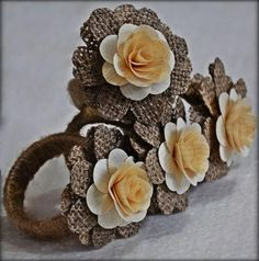 Burlap Napkin Rings - With Wood Roses (4 Pack)