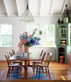 Cottage Dining Room with White Paneled Ceiling