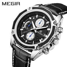 23.9$  Watch more here - MEGIR Original Men Quartz Watch Top Brand Military Watch Multifunction Chronograph Leather Sport Male Watches Relogio Feminino   #buymethat