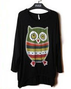 Nice Feeling Black Loose Bat-wing T-shirts  Item Code:#QQ3663+Black        Wholesale Price: US$10.00    Shipping Weight: 0.38KG