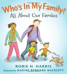 Picture book. Who's In My Family?: All About Our Families by Robie H. Harris, illustrated by Nadine Bernard Westcott. Main characters are black/white, but features families of all different backgrounds, as well as same-sex parents.
