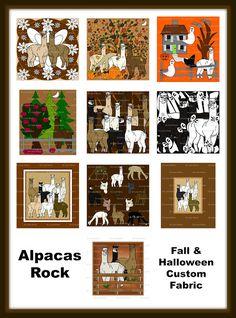 Linda Walsh Originals Fabric Designs: Gotta Love Alpaca Custom Fabric Designs For The Fall Season and Halloween Holiday