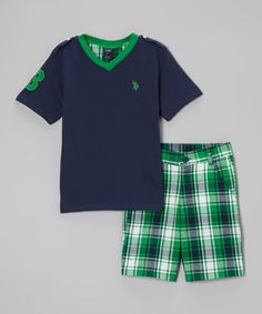 This Navy & Green Tee & Plaid Shorts - Infant, Toddler & Boys by U.S. Polo Assn. is perfect! #zulilyfinds