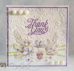 Very soft and elegant Tank You card with my favourite colour combination.     Happy crafting!