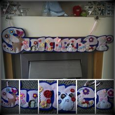 Summer  Name Banner Made in Pink and Purple Felt, decorated with felt in red white cream yellow turquoise green and maroon too. Have added Buttons and made little appliqué mice, Hedgehog , Toadstools, Ladybird and a Deer too