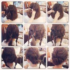 真ん中の三つ編みは 右か左かどちらでも大丈夫なので倒して留めて、 左右のねじった髪を交差して留めてくださいね♪