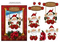 - A 7 x 5 inch card front featuring Santa on a swing with a poinsettia embellished frame. Decoupage pieces and greeting plate. Christmas Sheets, 3d Christmas, Christmas Clipart, Christmas Images, Christmas Printables, Christmas Ornaments, Art N Craft, Diy Art, 3d Cards
