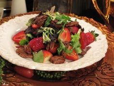 Candied Pecan and Strawberry Salad : Recipes : Cooking Channel Salad Dressing Recipes, Salad Recipes, Salad Dressings, Healthy Recipes, Healthy Foods, Yummy Recipes, Vegetarian Recipes, Dinner Recipes, Healthy Eating