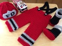 Wish | Newborn Red Baby Photography Prop Crochet Knitted  Fireman Firefighter Hat Suspender Pants Boots Costume (Size: 0-6m)