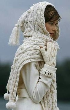 cabled scarf with hood
