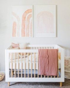 Colorful and simple nursery ideas for your baby or for twins to feel as comfortable and loved as possible. Neutral Nursery With Simple Wall Decor Colorful and simple nursery ideas for your baby or for twins to feel as comfortable and loved as possible. Baby Room Design, Nursery Design, Baby Room Decor, Nursery Room, Blush Nursery, Floral Nursery, Diy Girl Nursery Decor, Girl Nursery Art, Peach Baby Nursery
