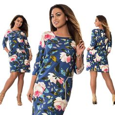 Printed Flowers Dress - Plus Size Clothing for Women
