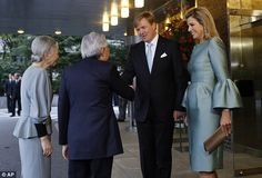 Waving goodbye: King Willem Alexander and Queen Maxima bid farewell to Emporer Akihito and Empress Michiko as their tour of Japan comes to an end, 31 October 2014.