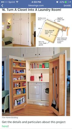 Small house and no room for a laundry room? Try this idea for a laundry closet off your kitchen AND it is extra storage space too! This small laundry area is more than a laundry closet - such a smart storage solution for small spaces! Tiny Laundry Rooms, Laundry Room Organization, Laundry Room Design, Laundry In Bathroom, Laundry Area, Hidden Laundry, Laundry Storage, Mud Rooms, Laundry Drying