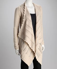 Soften a structured ensemble in style with this cozy cardigan. Wide lapels open to create a dramatic asymmetrical silhouette while elegant scalloped rows and eyelet detailing deliver ladylike charm. Almond Frosting, Open Cardigan, Spring Summer Fashion, Clothes For Women, Work Clothes, Ideias Fashion, Dress Up, Elegant, My Style