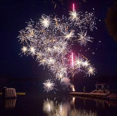 Summer fireworks at the cottage. Rice Lake Ontario.