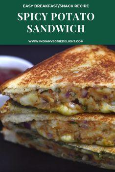 Vegetarian Sandwich Recipes, Easy Sandwich Recipes, Vegetarian Cooking, Going Vegetarian, Vegetarian Breakfast, Vegetarian Dinners, Indian Breakfast, Potato Sandwich, Veg Sandwich