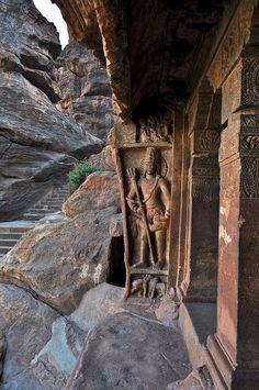 Entrance to Badami Cave Temples, Karnataka / India. : Entrance to Badami Cave Temples - Karnataka, India (by Sivaraj Mathi) Places Around The World, Travel Around The World, Around The Worlds, Indian Architecture, Ancient Architecture, Temple Architecture, Agra, Beautiful World, Beautiful Places