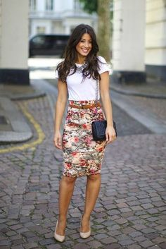 A floral pencil skirt is the perfect way to add some pop of color into your day!