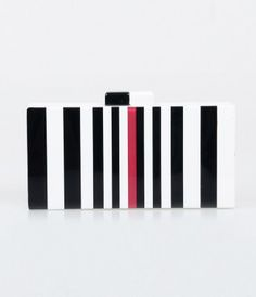 Dark or light, dear? A stunning striped box clutch in a self standing design in eye popping black and white with a magen...Price - $62.00-M7LF55OV