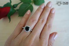 2.25 Carat Round, Halo Gatsby Engagement Ring, Black & White Man Made Diamond Simulants, Wedding Ring, Promise Ring, Bridal, Sterling Silver by TigerGemstones on Etsy https://www.etsy.com/listing/212815214/225-carat-round-halo-gatsby-engagement