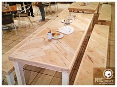 """This is a """"Herringbone"""" Table & benches we made from reclaimed Oregan Pine beams - has a natural looking Polywax finish on it with industrial castors."""