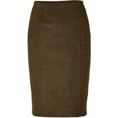 Jonathan Saunders Double Faced Wool Straight Skirt in Khaki ($232) ❤ liked on Polyvore