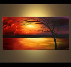 Buy beautiful landscape paintings, modern landscape paintings, canvas art and contemporary artworks. Colorful paintings of forests, trees, cloudy skies and other modern art. Choose your favorite landscape painting. Sunset Painting Easy, Sailboat Painting, Easy Canvas Painting, Canvas Art, Acrylic Canvas, Painting Abstract, Painting Art, Seascape Paintings, Landscape Paintings