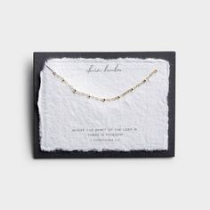 This intricate 'Chain Breaker' gold choker necklace is perfect to wear on its own or to layer with other necklaces. This inspirational gold necklace comes set onto a handmade cotton paper verse card with the powerful Scripture of 2 Corinthians Christian Jewelry, Christian Clothing, Powerful Scriptures, Verses For Cards, Gold Choker Necklace, Inspirational Gifts, Hand Lettering, Gifts For Women, Chokers