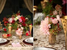 red and pink centerpieces by @Audrey O'Brien with Studio Stems