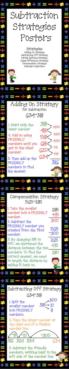 Use these 6 Step by Step Subtraction Strategies posters as Anchor Charts or notes for your students. Included in this set are: Adding On Strategy Subtracting Off Strategy, Partial Splitting Strategy, Equal Difference Strategy, Compensation Strategy, and  Standard Algorithm