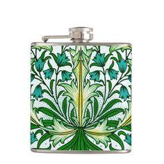 William Morris Gold Aqua Floral Wallpaper Flasks