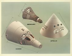 Vintage NASA illustrations show the differences among Mercury, Gemini, and Apollo spacecrafts.