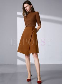 fbf5c2545471 Vintage Asymmetric Buttoned A-line Skirt | Ezpopsy.com Επαγγελματικά  Σύνολα, Επαγγελματική Μόδα