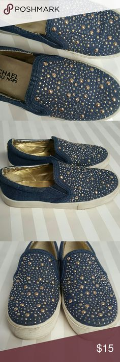 Michael Kors Girls Shoes Michael by Michael Kors Girls Size 1 Denim Slide on shoes with sparkles. MICHAEL Michael Kors Shoes Sneakers