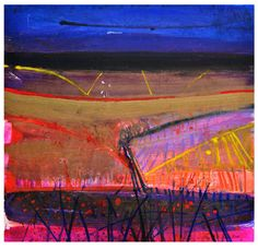 Montaione, Night Ploughing, by Barbara Rae mixed media, 100 x 106cm