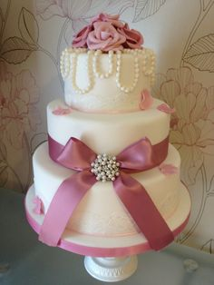 wedding cakes with pearls | Pearl, Rose Wedding, Vintage, Rose, Wedding Cake, Wedding, Cake