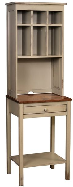 "#155H Phone Table With Hutch   Phone Table With Hutch is handmade by the Amish.  Your piece will be built with Premium Grade Eastern White Pine wood.  You will see some deformities and knots that come naturally with eastern pine. Measures: 22.50"" W x 72"" H x 18"" D"