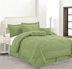 Luxury Hotel 7-Pc Embossed Solid Comforter Set (Full Size, Sage) *** You can find out more details at the link of the image.