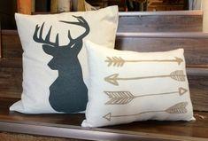 """Buck and Arrow set of pillows, 16"""" Buck Silhouette pillow, Antlers, Deer, 10 x 15 Hand-painted Arrow Pillow, Canvas Pillow Set"""