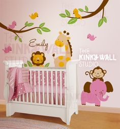 Children Wall Decal Tree Wall Decal  Animal Paradise by KinkyWall, $125.00