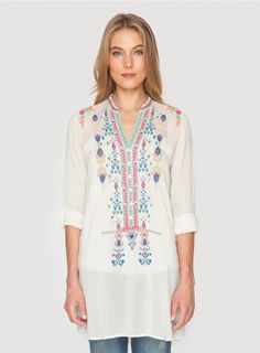 $234 Azten Blouse The Johnny Was AZTEN BLOUSE is a bohemian must-have! This tunic top features colorful Aztec-inspired embroidery designs along the front and back. Layer this embroidered tunic over a silk slip to wear it as a mini dress, or style it with skinny jeans and boots!  - Rayon Georgette - Six Button Henley Front, Long Sleeves - Signature Embroidery - Care Instructions: Machine Wash Cold, Tumble Dry Low
