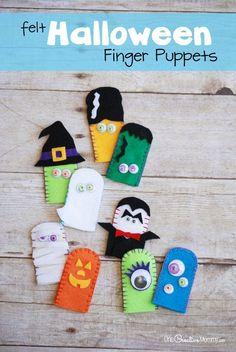 Attività Halloween: le marionette a dita fai da te - Adorable Felt Halloween Finger Puppets
