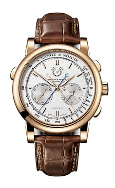 A Lange & Sohne Doublesplit Double Split, which is the world's first and only mechanical chronograph with a double-rattrapante function. It features two pairs of stopwatch hands that can run together as well as separately. For the first time, they allow time comparisons, lap-time and reference-value measurements as well as fastest/slowest measurements of events that last up to 30 minutes.