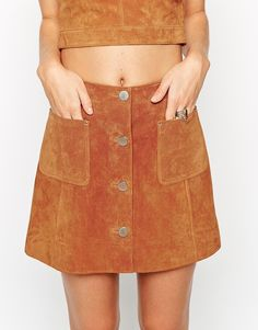 Image 3 of ASOS co-ord Suede A-Line Skirt With Button Through And Pocket Detail