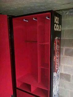 Repurpose pop machine into gun safe Hidden Gun Storage, Weapon Storage, Locker Storage, Ammo Storage, Hidden Compartments, Secret Compartment, Coca Cola, Reloading Room, Ohio
