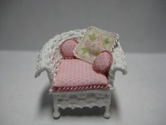 Quarter scale miniature wicker chair by CherylHubbardMinis on Etsy Deep And Wide, White Silk, Cheryl, Pillow Shams, Seat Cushions, Wicker, Armchair, Hand Weaving, Decorative Boxes